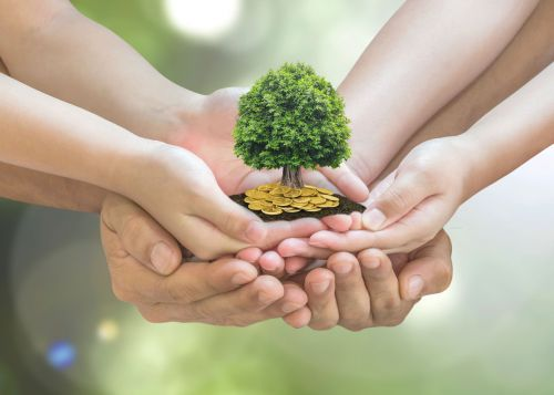 Retirement planning and family investment concept with wealthy tree growing on parent and children's hands